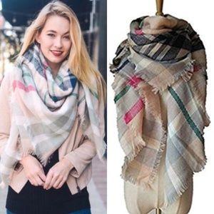 Tickled Pink Plaid Soft Wrap Blanket Scarf